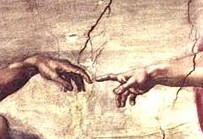 Touching Hands, detail of the Creation of Adam, Michelangelo Buonaroti, Sixtine Chapel, 1510