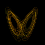 An icon of chaos theory - the Lorenz attractor. Projection of trajectory of Lorenz system in phase space based on images. Image:Lorenz system r28 s10 b2-6666.png by User:Wikimol and Image:Lorenz attractor.svg by User:Dschw - Wikimedia Commons