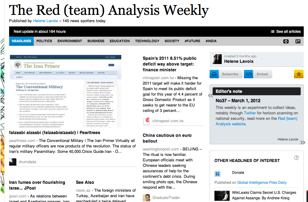 The Red (team) Analysis Weekly No 37 - Horizon Scanning for National Security