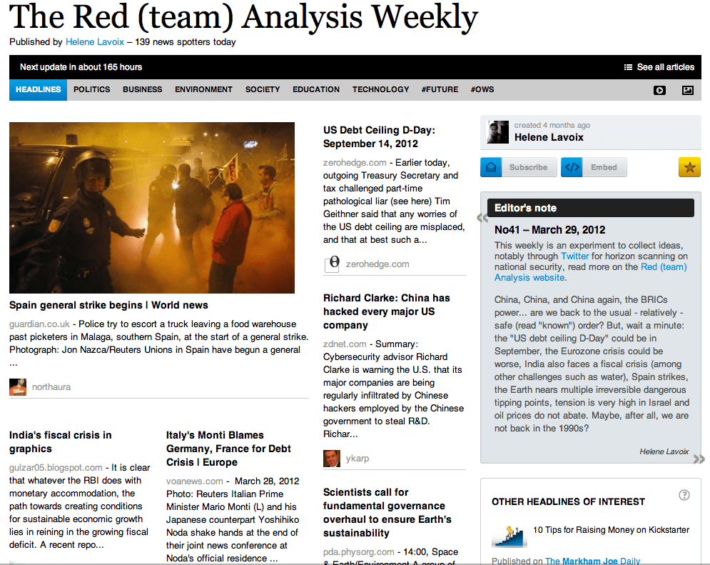The Red (team) Analysis Weekly No41 - Horizon Scanning for National Security, 29 March 2012
