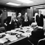 The president and his national security team in the White House Situation Room during the  Arab-Israeli crisis  -By LBJ Library and Museum, via Wikimedia Commons
