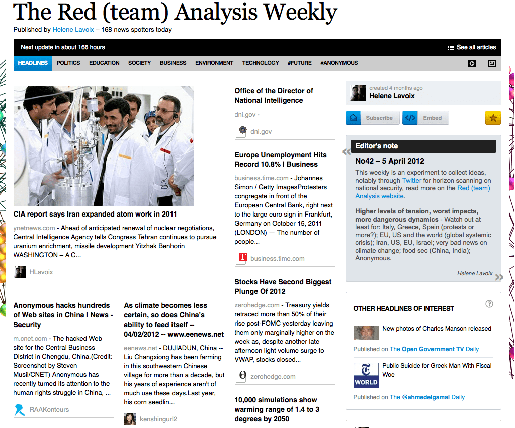 The Red (team) Analysis No 42 - Horizon Scanning for National Security