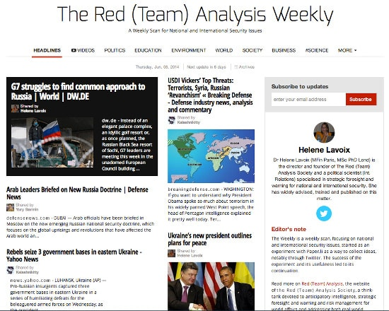Red (Team) Analysis, Weak signal, political risk, War