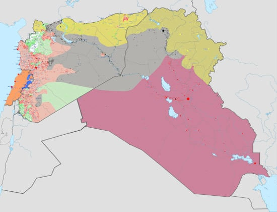 Islamic State, ISIS map, Iraq, Syria, Lebanon, war, ISIL