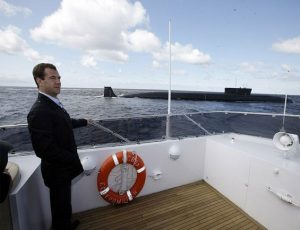 Dmitry Medvedev near Yury Dolgorukiy submarine