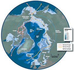 Map of the Arctic region showing the Northeast Passage, the Northern Sea Route and Northwest Passage, and bathymetry