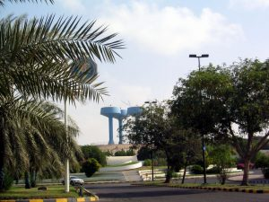 Ruwais(UAE) with blue water towers
