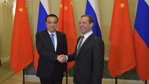 Li Keqiang and Dmitry Medvedev at the 21st regular meeting of Russian and Chinese heads of government