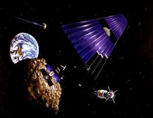 Solar power satellite from an asteroid https://commons.wikimedia.org/wiki/File%3ASolar_power_satellite_from_an_asteroid.jpg